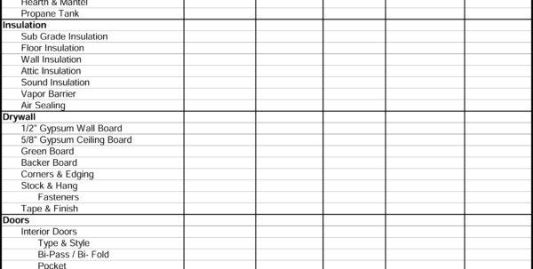 Residential Bidding Sheet Detailed For Residential Construction Bid Form