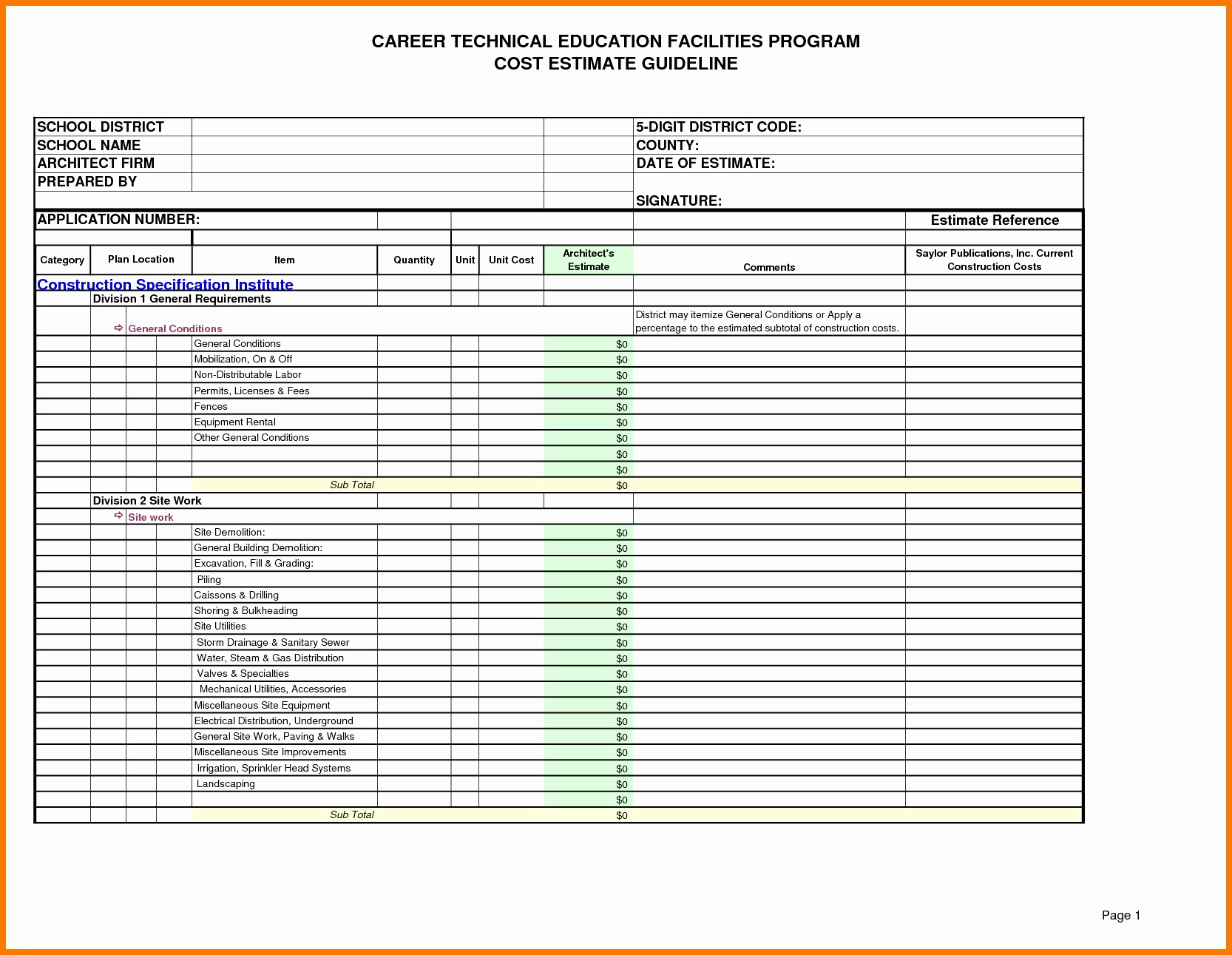 Residential Construction Cost Estimator Excel Lovely Construction And Residential Cost Estimate Template