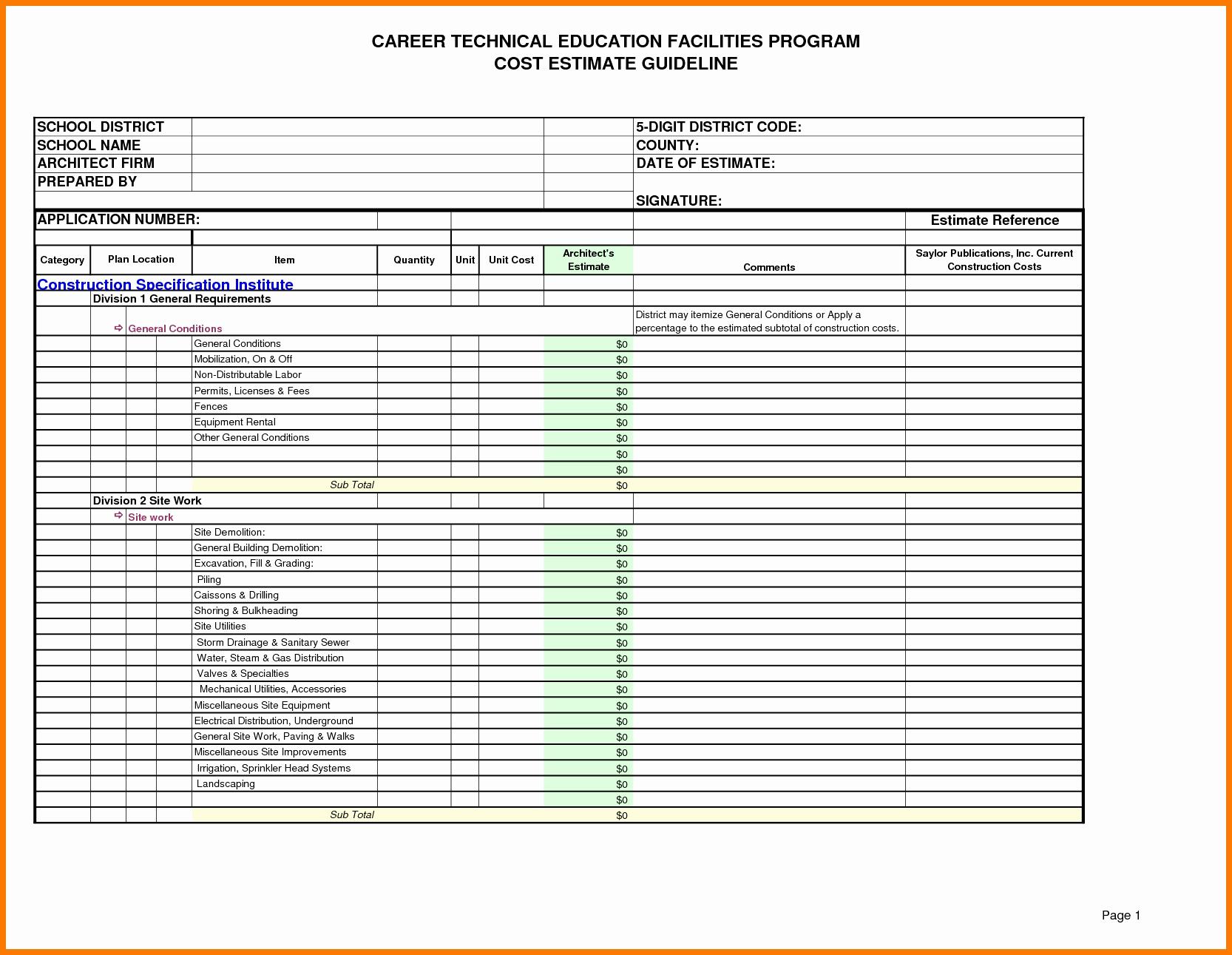 Residential Construction Cost Estimator Excel Lovely Construction With Residential Construction Estimate Form