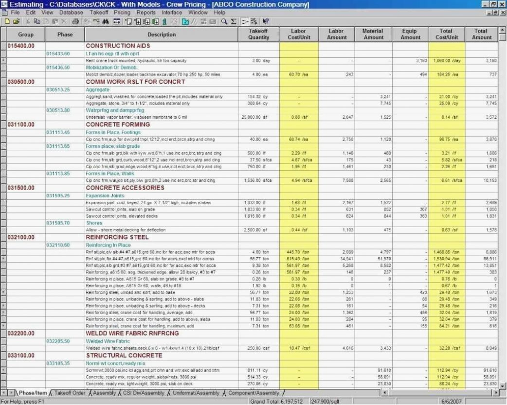 Residential Construction Estimating Spreadsheets In Excel Cos On Throughout Residential Construction Cost Estimate Spreadsheet