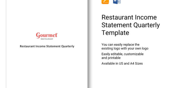 Restaurant Income Statement Quarterly Template In Word, Apple Pages Throughout Quarterly Income Statement Template