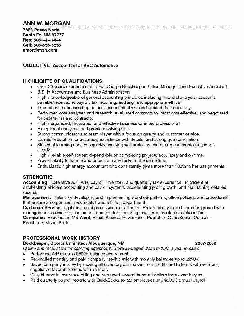 Resume Example Bookkeeper Resume Sample Bookkeeper Resume Full Intended For Bookkeeper Resume Sample Summary