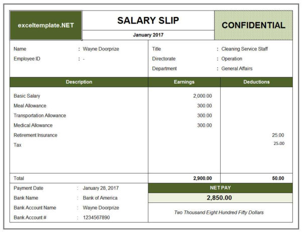Salary Slip | Excel Templates Throughout Salary Statement Format In Excel