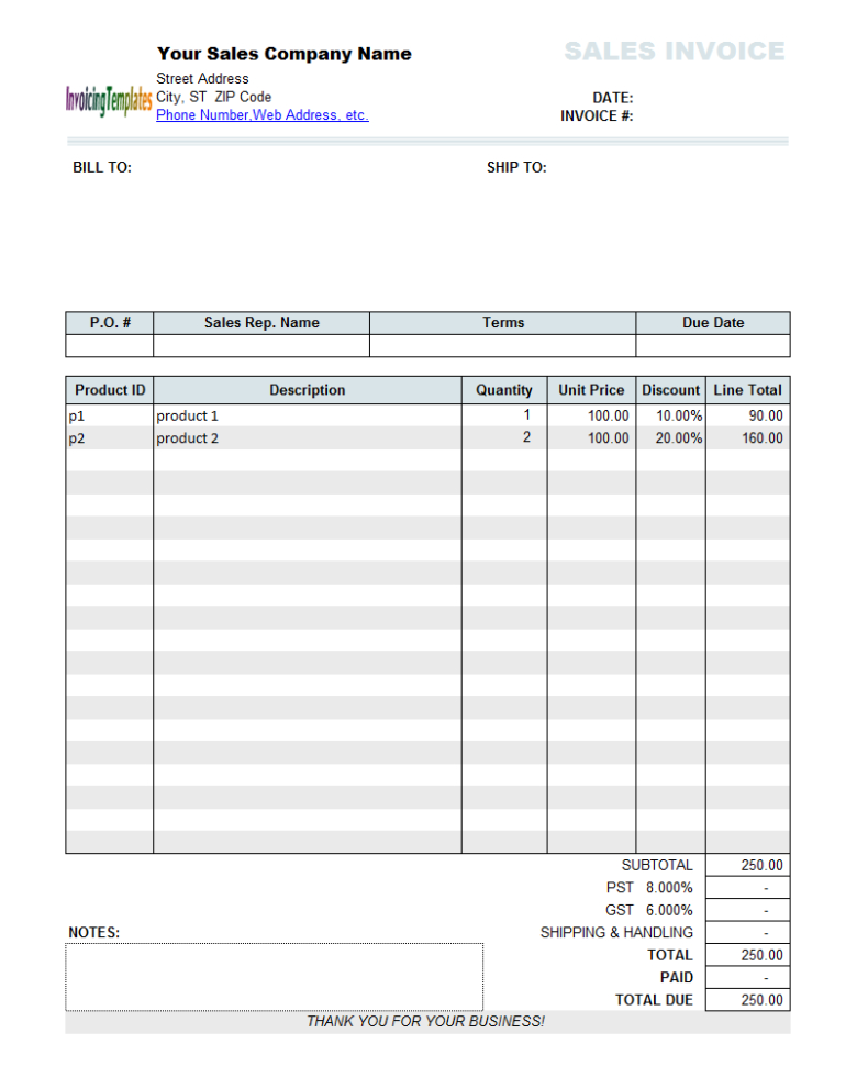 Sales Invoice Template With Discount Per Download At Finance Throughout Bookkeeping Invoice Template Free