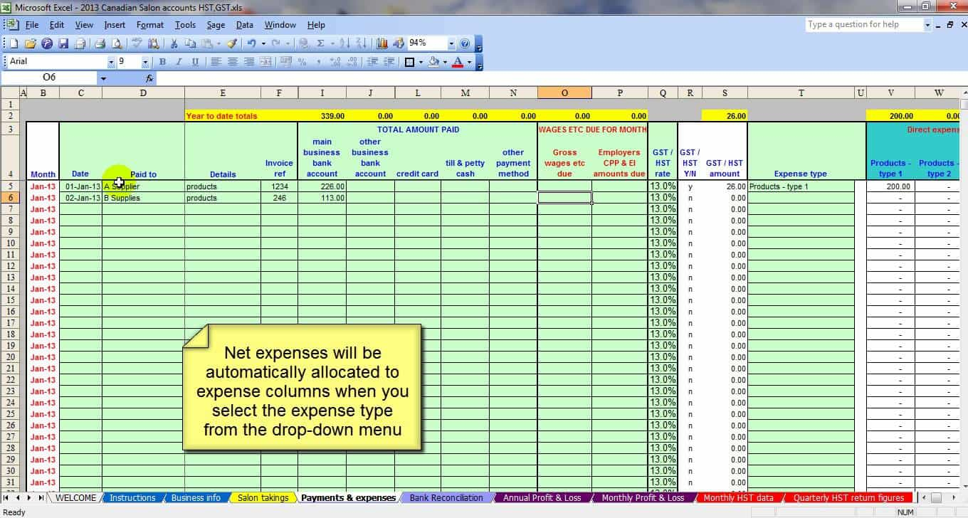 salon bookkeeping spreadsheet