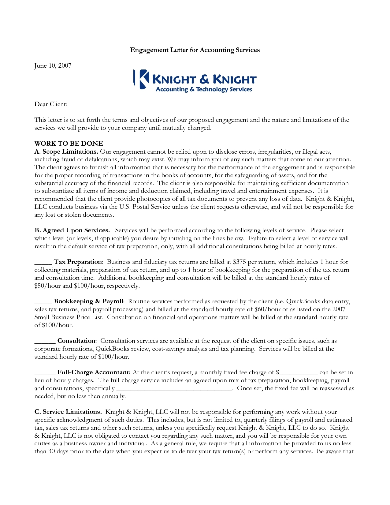 Sample Bookkeeping Engagement Letter The Best Letter Sample With For Bookkeeping Engagement Letter Example