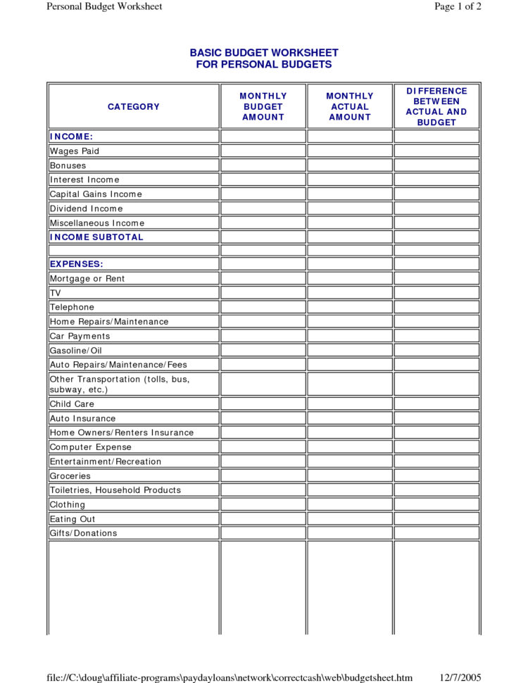 Sample Budget Worksheet Worksheets For All | Download And Share Throughout Samples Of Budget Spreadsheets