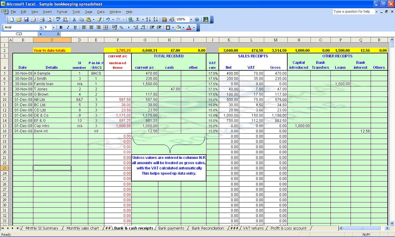 Sample Excel Accounting Spreadsheet - Durun.ugrasgrup Intended For Microsoft Excel Bookkeeping Spreadsheet