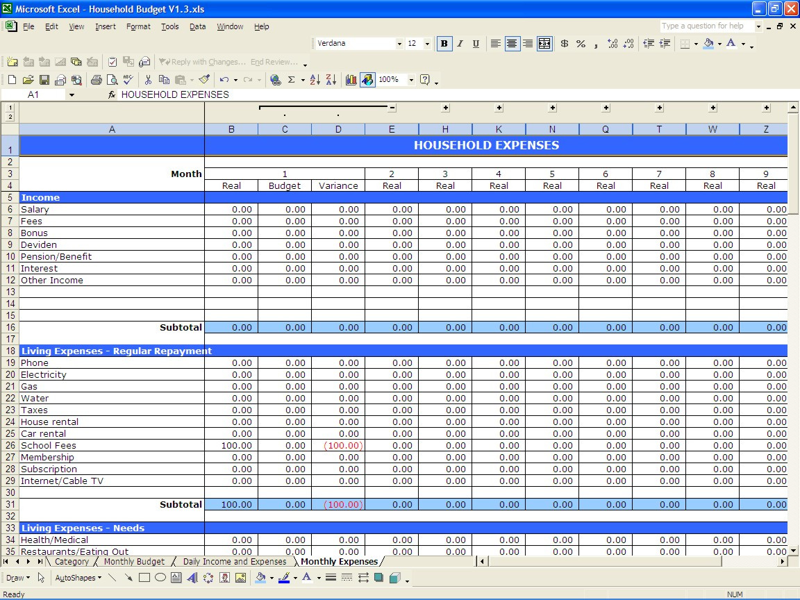Sample Personal Budget Spreadsheet Or Monthly Household Bud Inside Budget Spreadsheet Excel