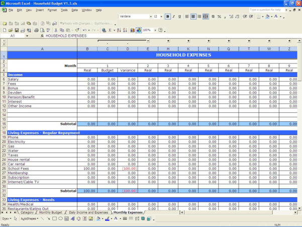Sample Personal Budget Spreadsheet Or Monthly Household Bud Within Personal Budget Worksheet Excel