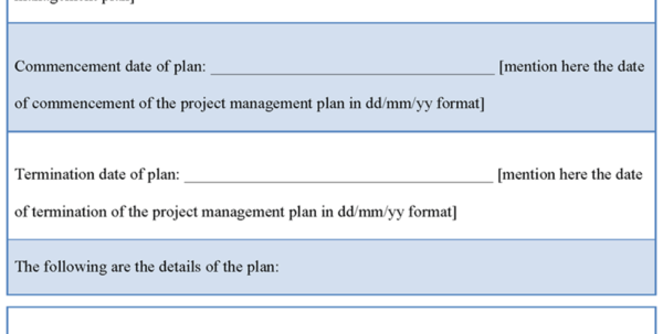 Sample Project Management Plan Template Within Project Management Plan Templates