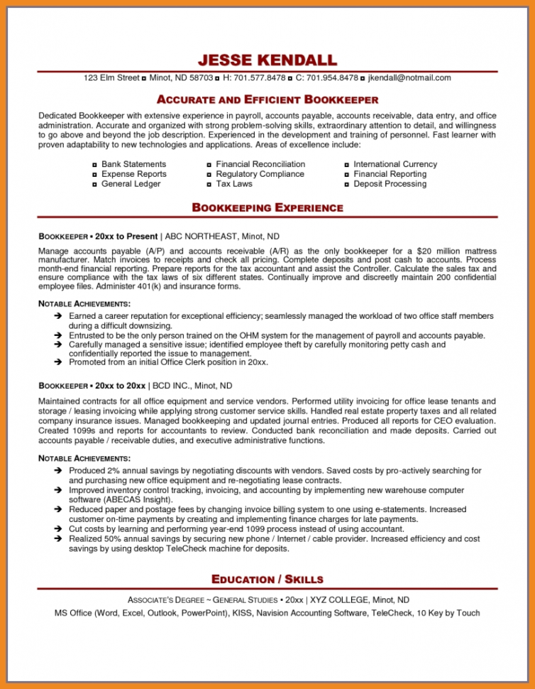 Sample Resume Bookkeeper. Assistant Bookkeeper Resume. Head Within Intended For Bookkeeping Contract Template