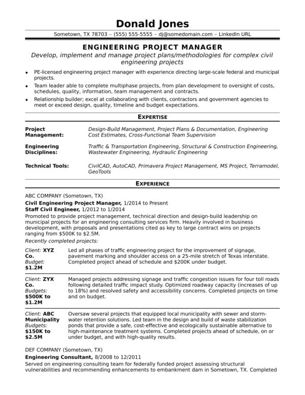 Sample Resume For A Midlevel Engineering Project Manager | Monster Throughout Project Management Contracts Templates