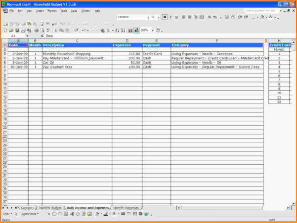 Sample Spreadsheet For Business Expenses   Resourcesaver Throughout Sample Of Spreadsheet Of Expenses