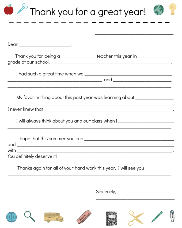 Say Thanks To Teachers With A Fill In Note From Your Child With Teacher Printable Templates