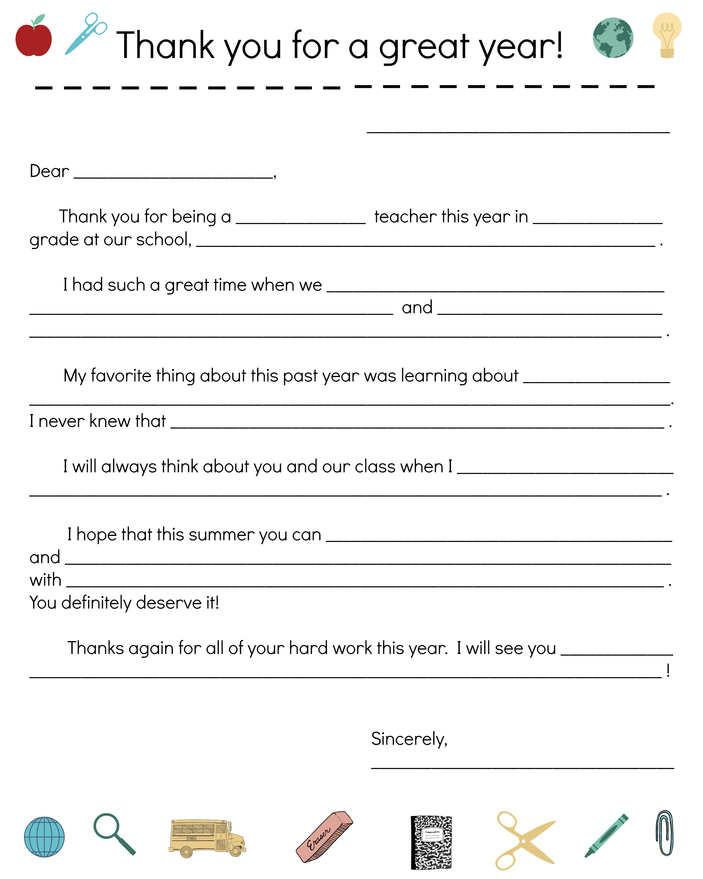 Say Thanks To Teachers With A Fill-In Note From Your Child with Teacher Printable Templates