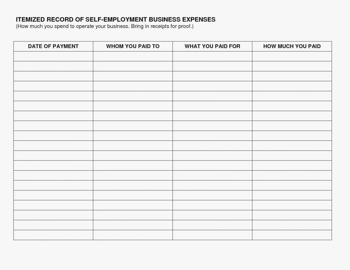 Self Employed Expenses Spreadsheet Accounting Sample Experience Intended For Self Employed Spreadsheet Templates Free
