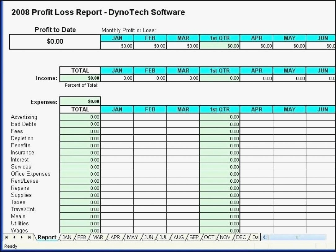 Self Employed Expenses Spreadsheet Profit And Loss Statement With Self Employed Expenses Spreadsheet Template