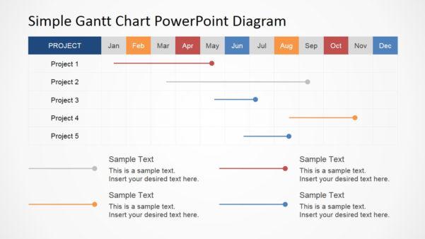 Simple Gantt Chart Powerpoint Diagram   Slidemodel Inside Simple Gantt Chart Template
