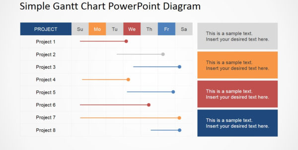 Simple Gantt Chart Powerpoint Diagram   Slidemodel To Gantt Chart Schedule Template