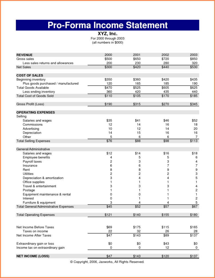 Simple Income Statement Example Income Statement Creator Simple And Pro Forma Income Statement Generator