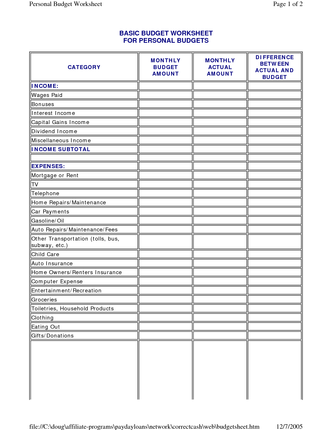 Simple Personal Budget Spreadsheet   Resourcesaver And Free Budget Spreadsheet Templates