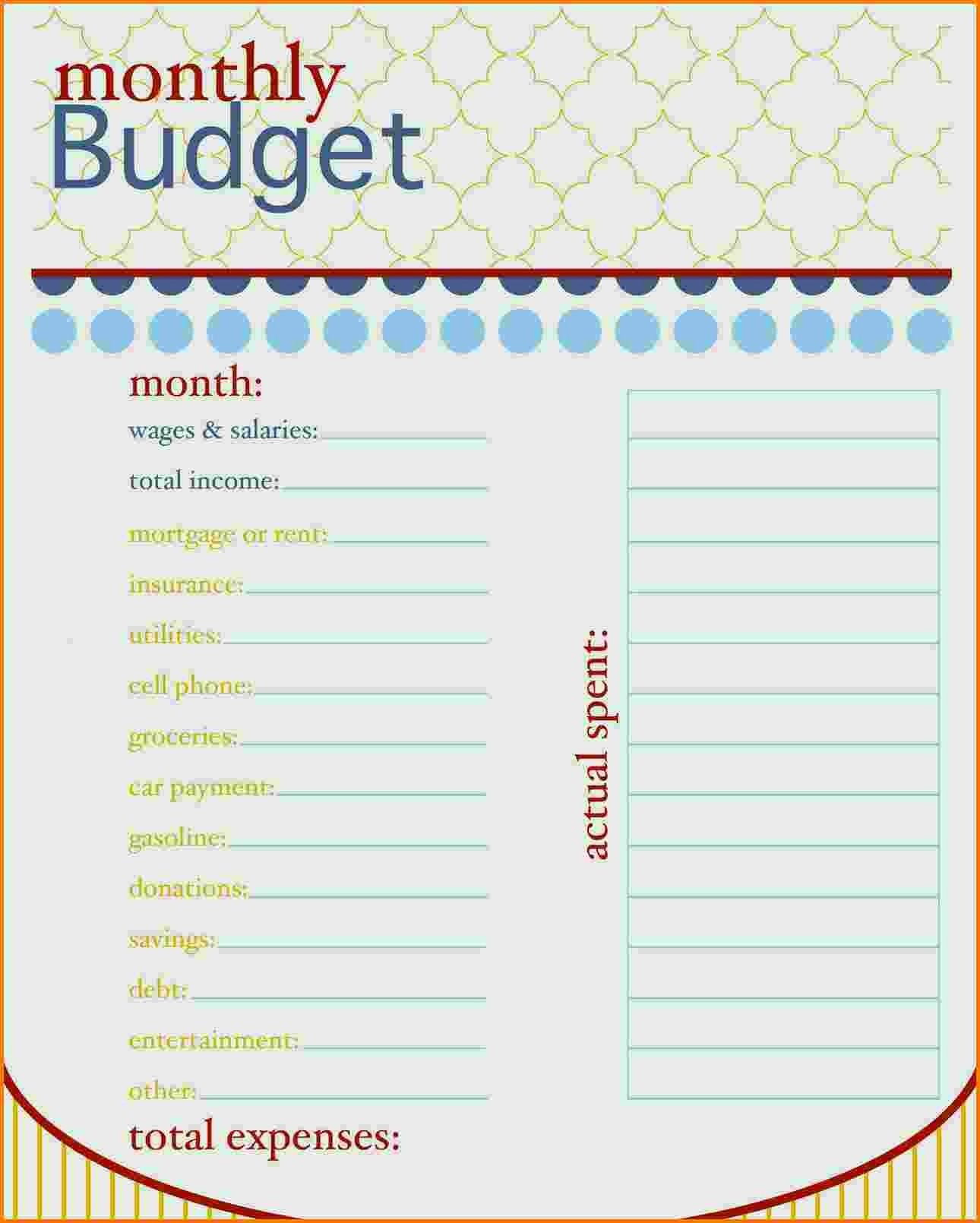Simple Personal Budget Template Excel Simple Monthly Bud Template To Monthly Financial Budget Template