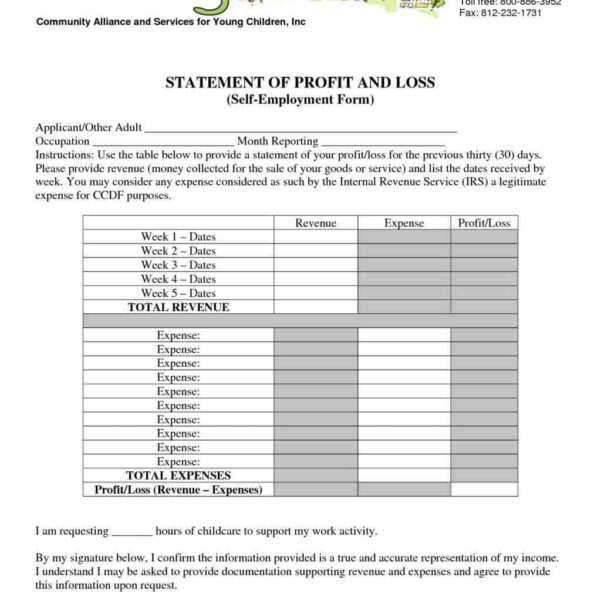 Simple Profit And Loss Statement Excel Template Financial Report In Profit And Loss Statement Template For Self Employed Excel