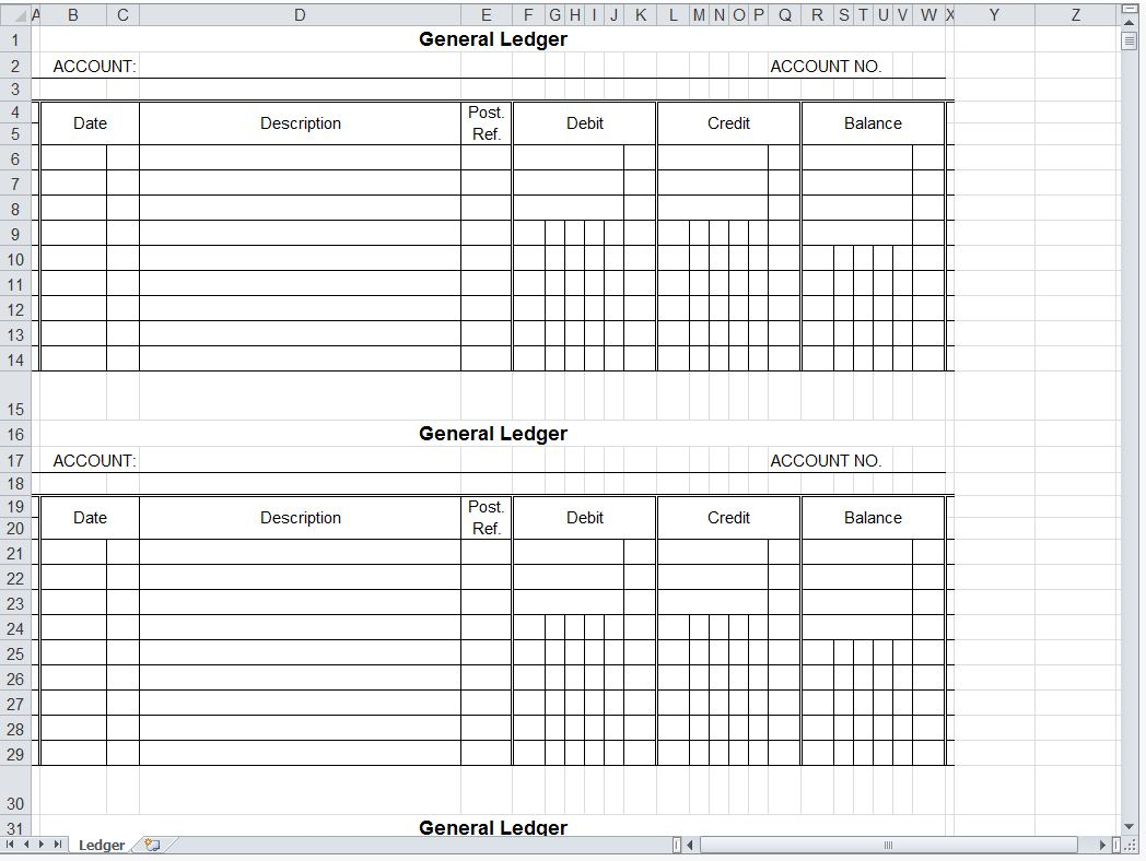 Small Business Accounting Ledger Template   Zoro.9Terrains.co In Free General Ledger Template