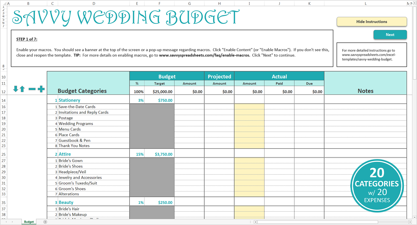 Smart Wedding Budget   Excel Template   Savvy Spreadsheets For Sample Wedding Budget Spreadsheet