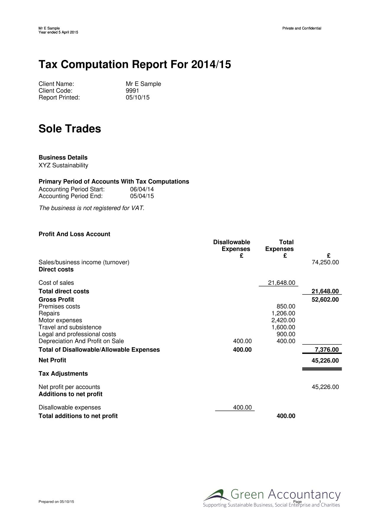 Sole Trader & Personal Tax – Green Accountancy Within Bookkeeping Template For Sole Trader