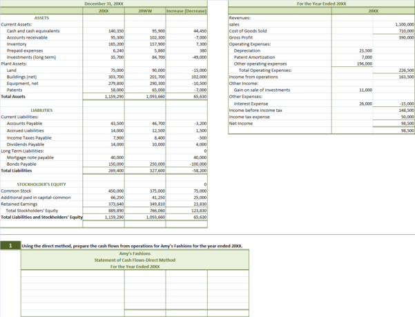 Solved: Review The 20Xx Financial Statements For Amy's Fas Within Excel Cash Flow Template