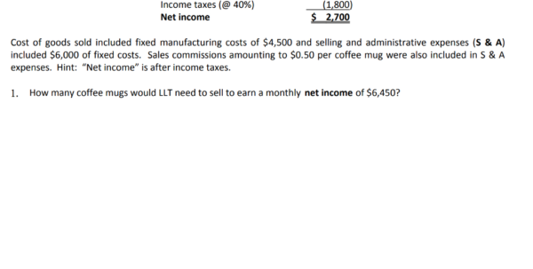 Solved: The Current Monthly Income Statement For Llt, Inc For Monthly Income Statement