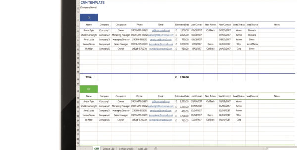 Spreadsheet Download   In Crm Template Free Download