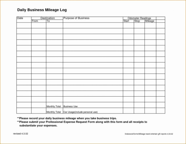 Spreadsheet Example Of Business Mileage Log Template Printable And Printable Spreadsheet Template