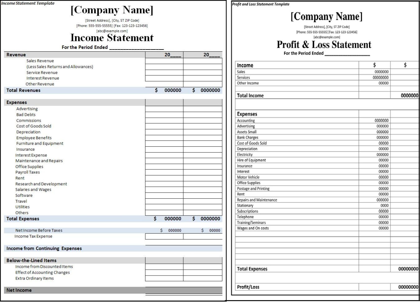 Statement Format Word   Zoro.9Terrains.co Intended For Income Statement Template Excel