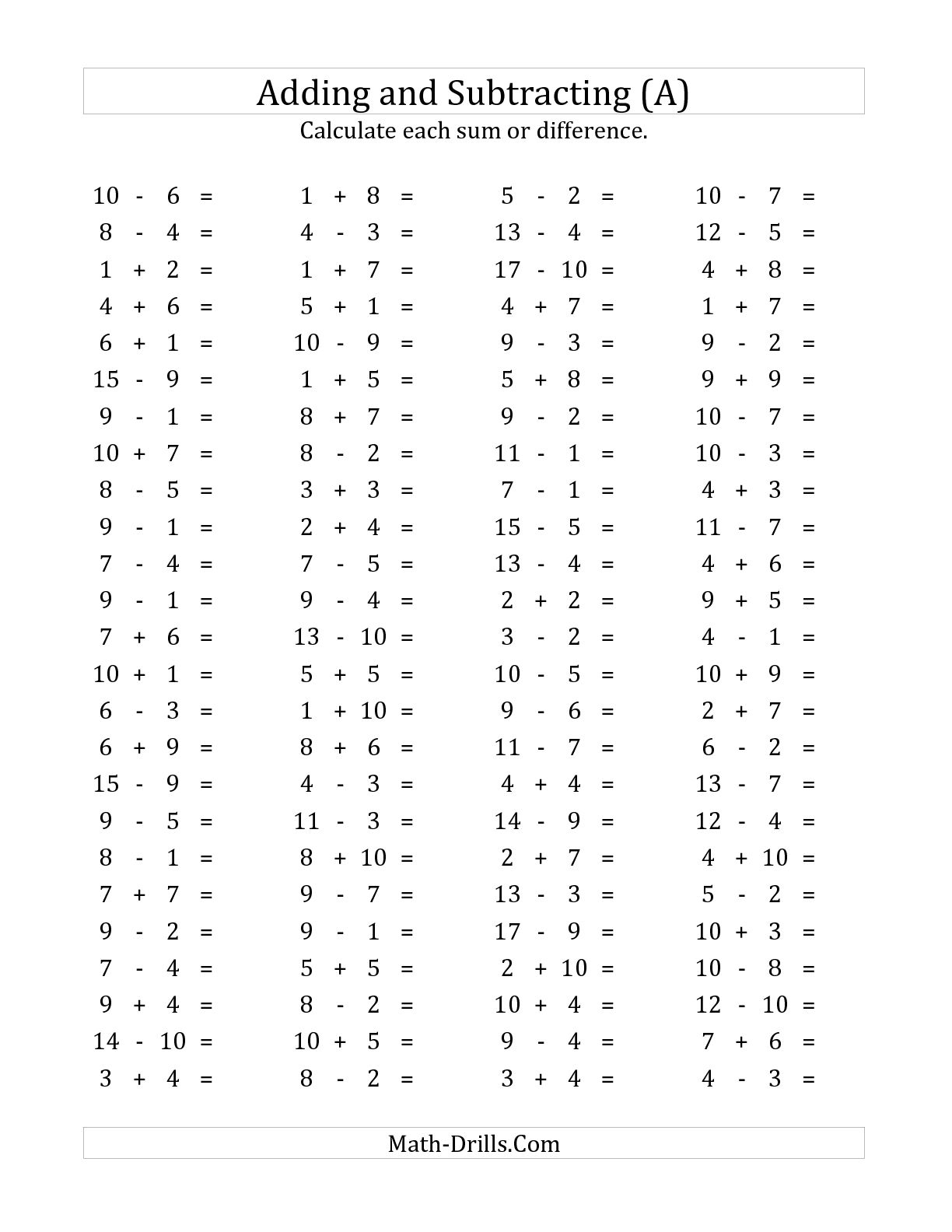 Subtraction Worksheet Generator The Best Worksheets Image Collection With Worksheet Generator