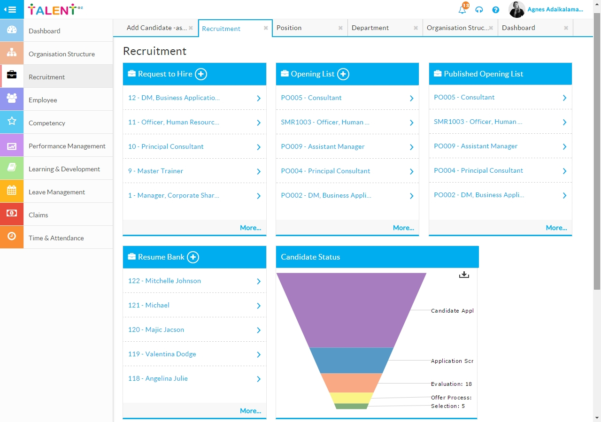 Talentoz – Comprehensive Hcm On Cloud – Hr Solution – Talent In With Recruitment Dashboard Xls