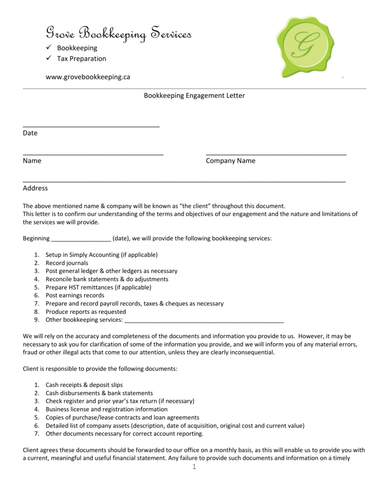 Tax Return Letter To Client   Kairo.9Terrains.co Inside Bookkeeping Engagement Letter Example