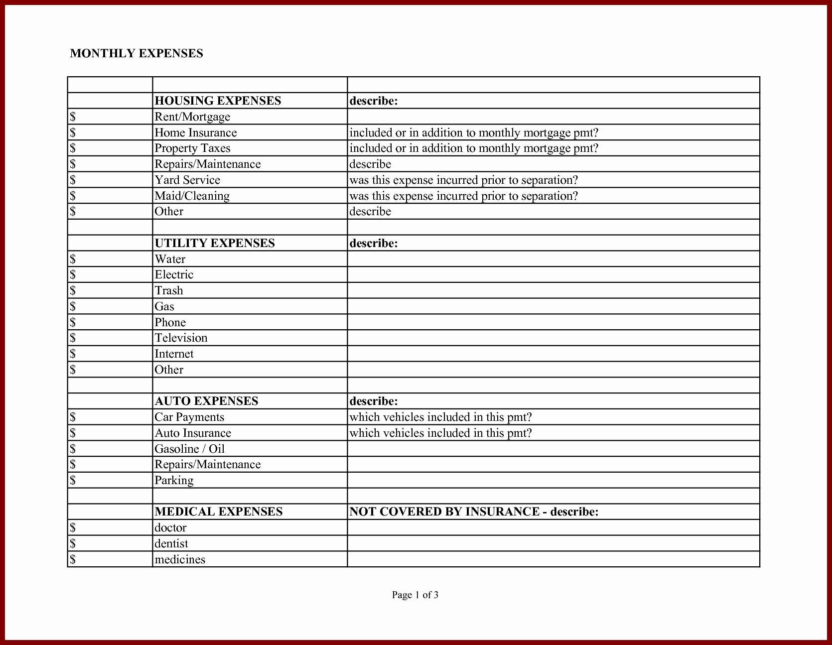 Tax Worksheet For Business Expenses Valid Business Expense Template With Monthly Business Expense Template