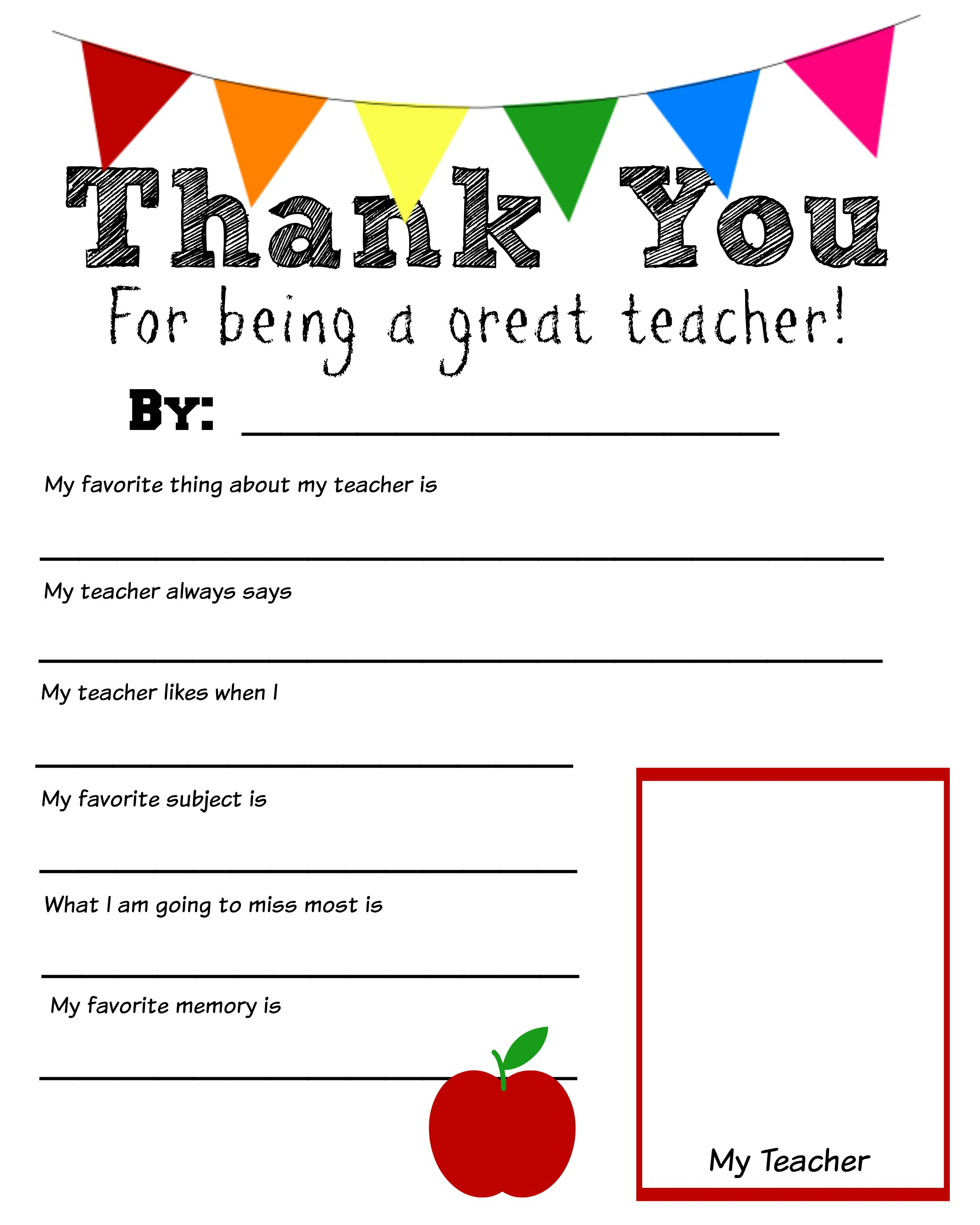 Thank You Teacher Free Printable Intended For Worksheet Templates For Teachers