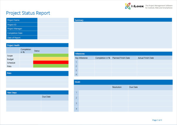 The Importance Of Project Status Reports   Inloox Throughout Project Management Reporting Templates For Status