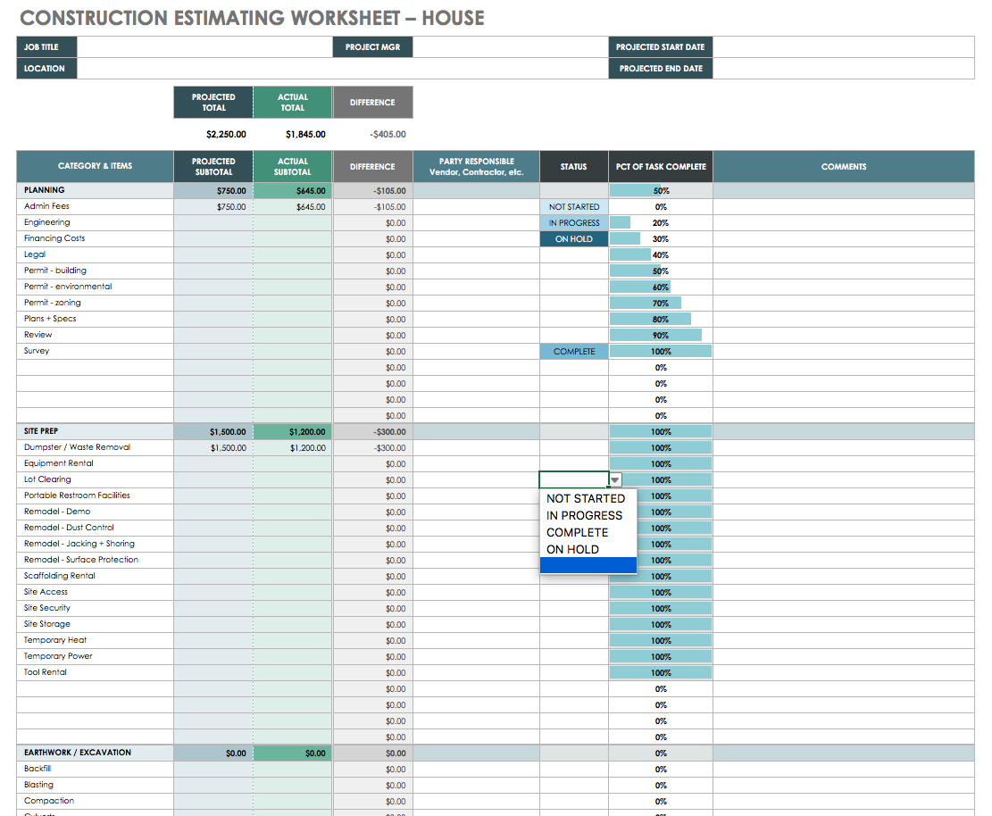 The Master Guide To Construction Bidding | Smartsheet In Estimating Templates For Construction