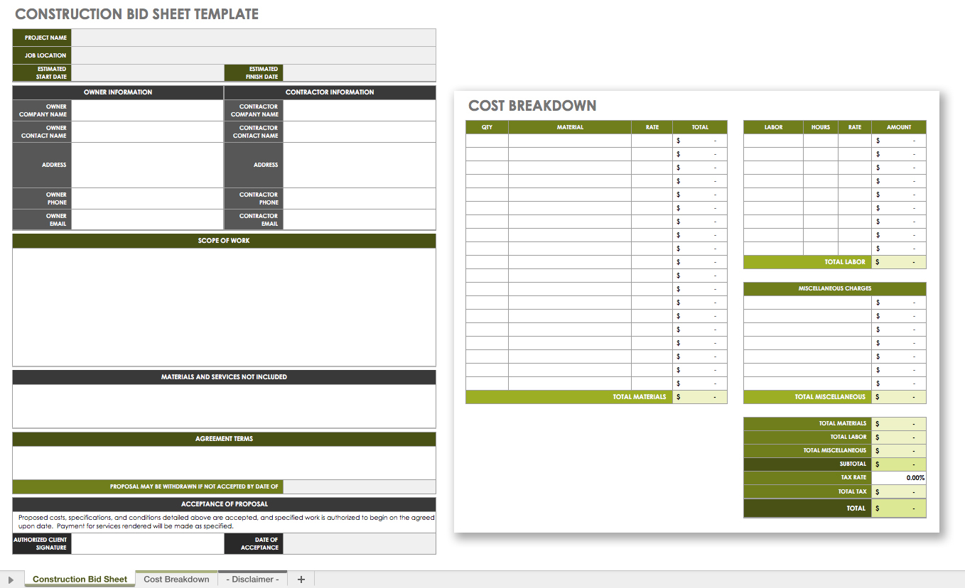 The Master Guide To Construction Bidding   Smartsheet Intended For Residential Construction Bid Form