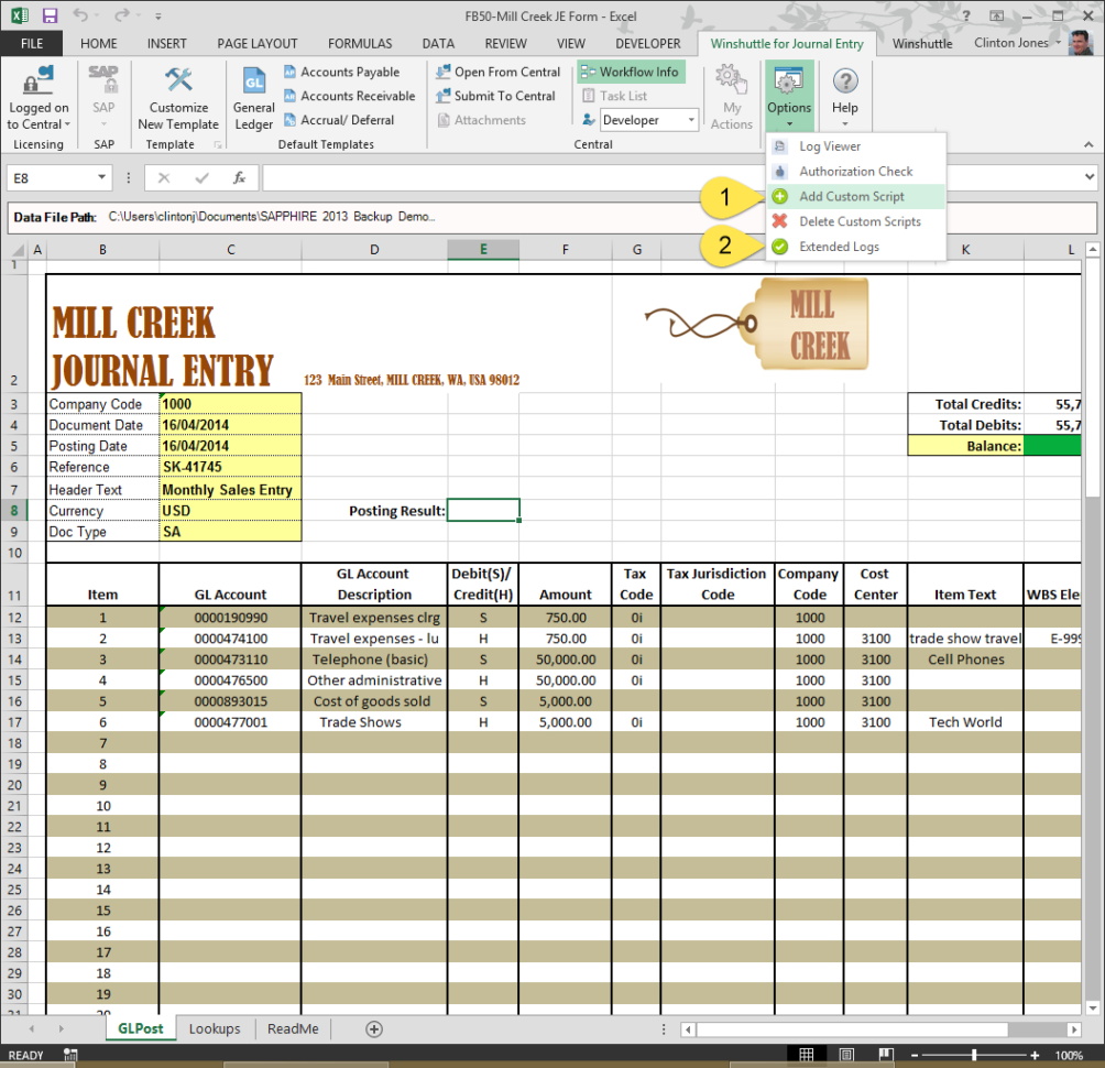 The No 1 Excel Manual Journal Upload Tool For Sap   Winshuttle Software Inside Accounting Journal Template Excel