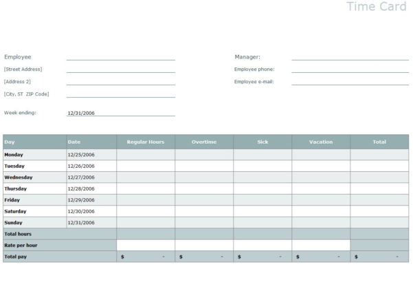 Time Card Template | Excel Time Card Template Inside Time Spreadsheet Template
