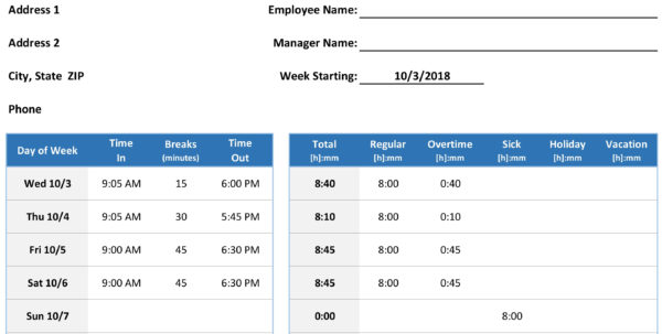 Time Sheet With Timesheet Spreadsheet Template