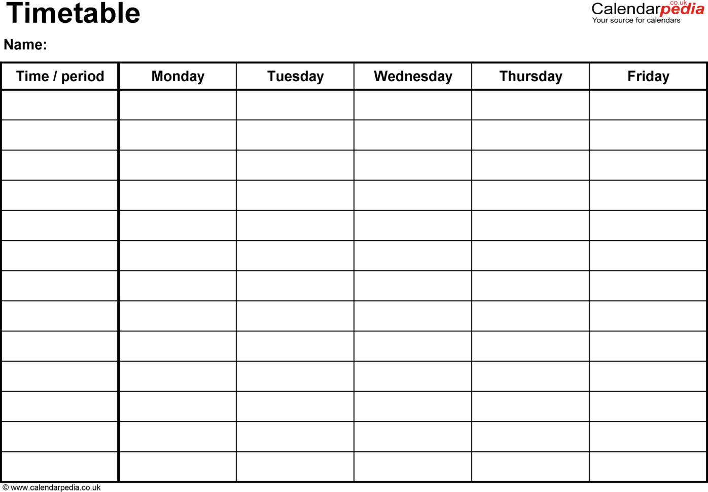 Timetables As Free Printable Templates For Microsoft Word Within Blank Worksheet Templates