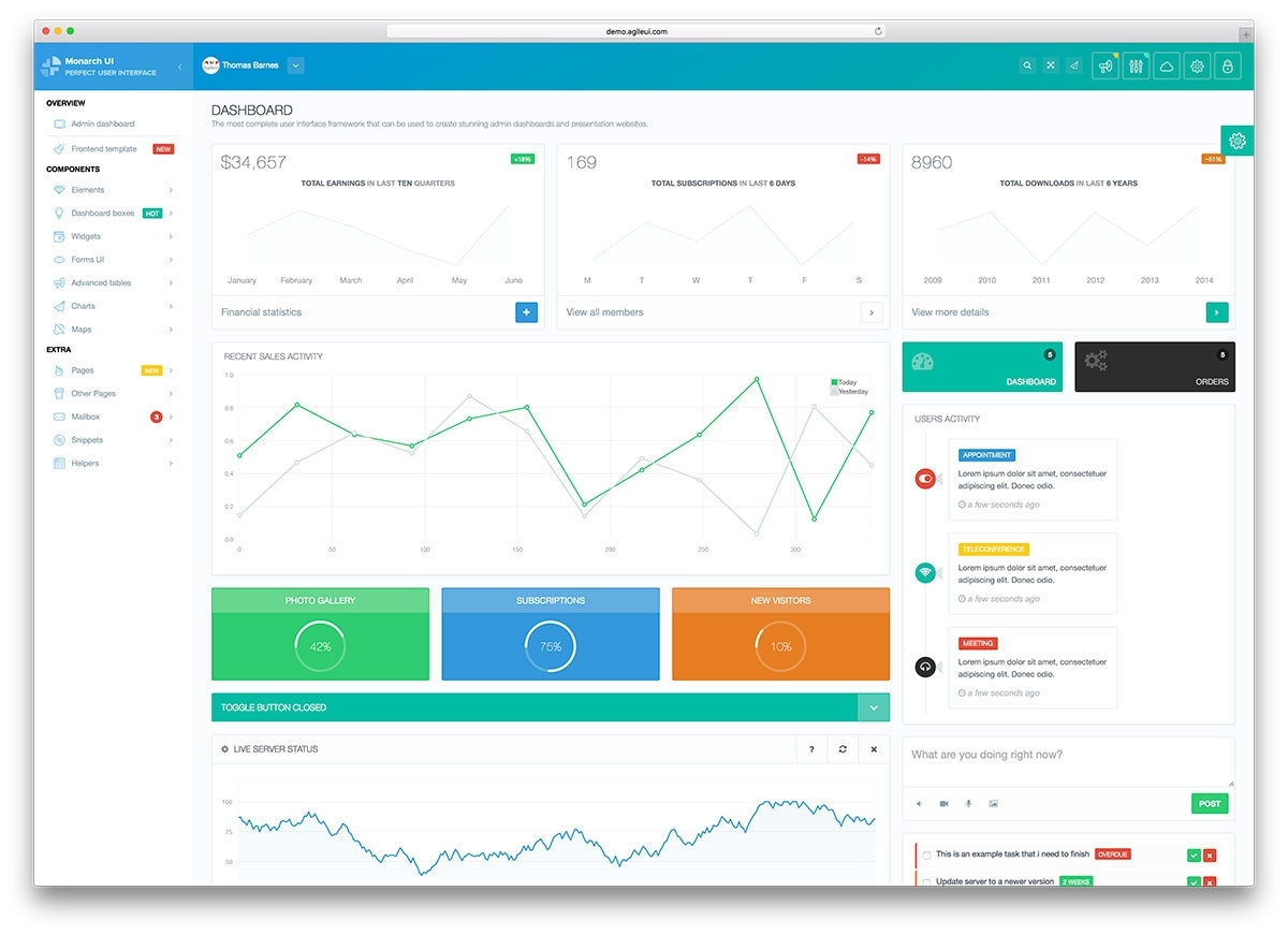 Top 22 Free Responsive Html5 Admin & Dashboard Templates 2017 With Throughout Crm Template Free Download