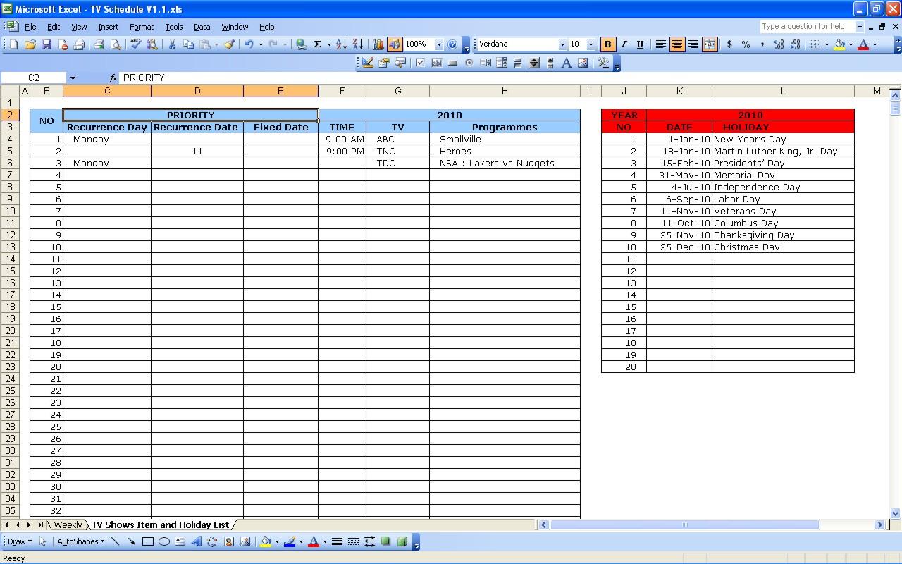 Tv Schedule | Excel Templates Inside Excel Spreadsheet Template Scheduling